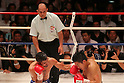 (L to R)  Juan Hernandez (Mex) Kazuto Ioka (JPN), AUGUST 10, 2011 - Boxing : Juan Hernandez of Mexico hits Kazuto Ioka of Japan during the WBC Minimum weight title bout at Korakuen Hall, Tokyo, Japan. Kazuto Ioka of Japan won the fight on points after twelve rounds. (Photo by Yusuke Nakanishi/AFLO) [1090]