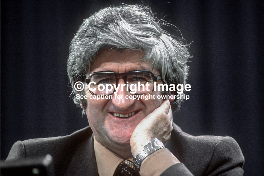 Michael Begley, TD, Fine Gael, political party, Rep of Ireland, on platform at his party's annual conference, aka Ard Fheis. 198103000067MB1.<br /> <br /> Copyright Image from Victor Patterson,<br /> 54 Dorchester Park, <br /> Belfast, UK, BT9 6RJ<br /> <br /> t1: +44 28 9066 1296 (from Rep of Ireland 048 9066 1296)<br /> t2: +44 28 9002 2446 (from Rep of Ireland 048 9002 2446)<br /> <br /> m: +44 7802 353836<br /> <br /> e: victorpatterson@me.com<br /> www.victorpatterson.com<br /> <br /> Please see my Terms and Conditions of Use at www.victorpatterson.com. It is IMPORTANT that you familiarise yourself with them.<br /> <br /> Images used on the Internet must be visibly watermarked i.e. &copy; Victor Patterson<br /> within the body of the image and copyright metadata must not be deleted. Images <br /> used on the Internet have a size restriction of 4kbs and will be chargeable at current<br />  NUJ rates unless agreed otherwise.<br /> <br /> This image is only available for the use of the download recipient i.e. television station, newspaper, magazine, book publisher, etc, and must not be passed on to any third <br /> party. It is also downloaded on condition that each and every usage is notified within 7 days to victorpatterson@me.com<br /> <br /> The right of Victor Patterson to be identified as the author is asserted in accordance with The Copyright Designs And Patents Act (1988). All moral rights are asserted.