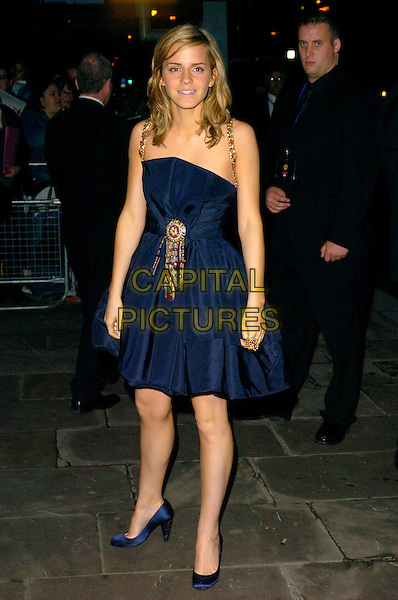 "EMMA WATSON.European Premiere of ""Harry Potter and the Order of the Phoenix"" afterparty at the Old Billingsgate Market, London, England..July 3rd, 2007.after party full length navy blue dress beaded silk satin rain soaked shoes .CAP/CAN.©Can Nguyen/Capital Pictures"