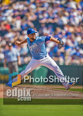 25 August 2013: Kansas City Royals pitcher Kelvin Herrera on the mound against the Washington Nationals at Kauffman Stadium in Kansas City, MO. The Royals defeated the Nationals 6-4, to take the final game of their 3-game inter-league series. Mandatory Credit: Ed Wolfstein Photo *** RAW (NEF) Image File Available ***