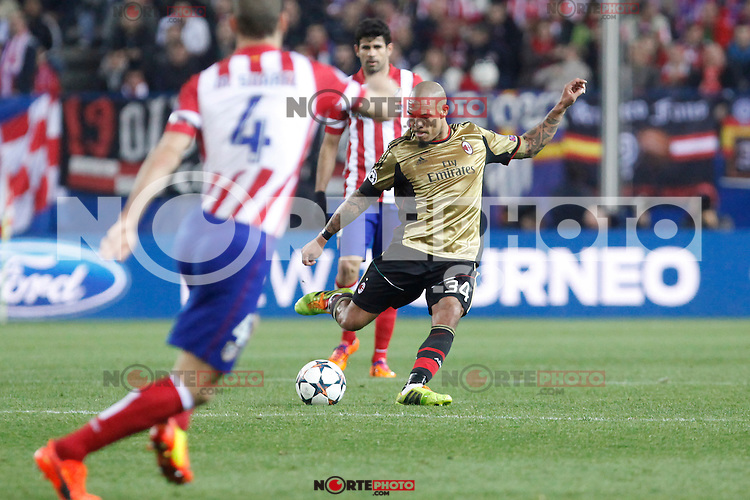 Milan´s Nigel de Jong during 16th Champions League soccer match at Vicente Calderon stadium in Madrid, Spain. January 06, 2014. (ALTERPHOTOS/Victor Blanco)