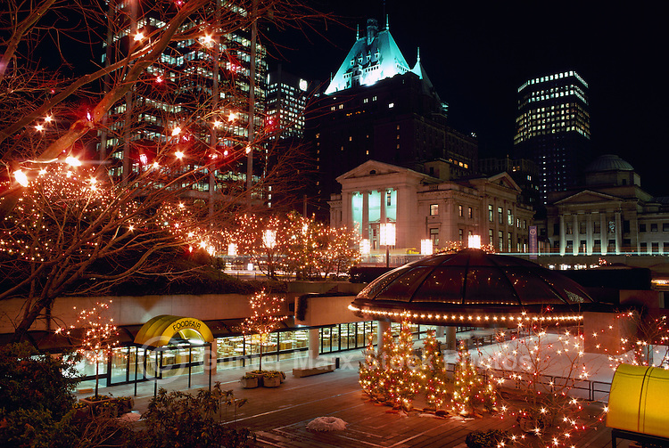 Vancouver, BC, British Columbia, Canada - Christmas Lights and Decorations at Robson Square, Colourful Festive Xmas Light Display Scene