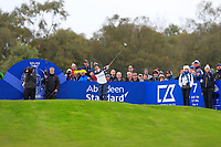 Morgan Pressel of Team USA on the 7th tee during Day 2 Foursomes at the Solheim Cup 2019, Gleneagles Golf CLub, Auchterarder, Perthshire, Scotland. 14/09/2019.<br /> Picture Thos Caffrey / Golffile.ie<br /> <br /> All photo usage must carry mandatory copyright credit (© Golffile | Thos Caffrey)