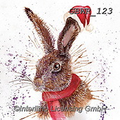 Simon, CHRISTMAS ANIMALS, WEIHNACHTEN TIERE, NAVIDAD ANIMALES, paintings+++++Card_KatherineW_SplatterChristmasHareSquare,GBWR123,#xa#,rabbit
