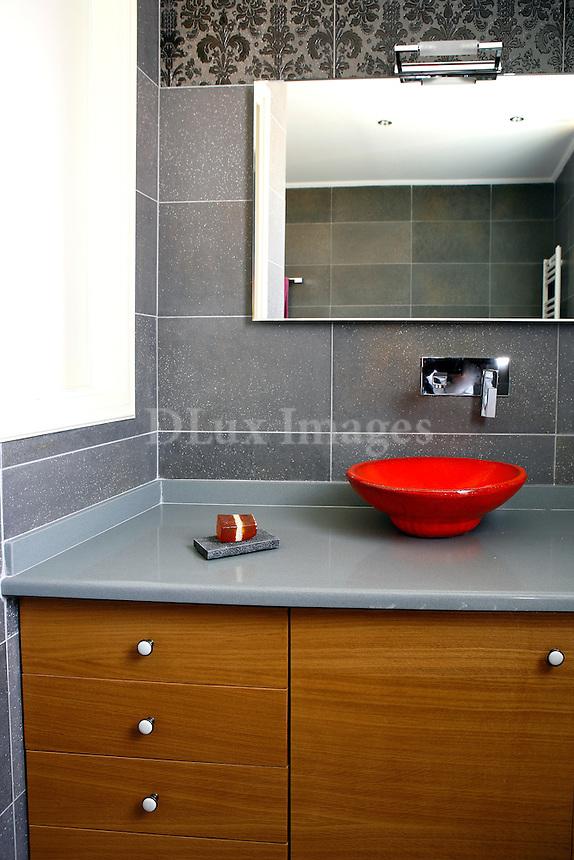 modern red bathroom sink