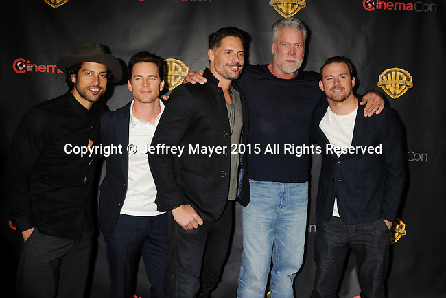 LAS VEGAS, CA - APRIL 21: (L-R) Actors Adam Rodriguez, Matt Bomer, Joe Manganiello, Kevin Nash and Channing Tatum arrive at Warner Bros. Pictures Invites You to ?The Big Picture at The Colosseum at Caesars Palace during CinemaCon, the official convention of the National Association of Theatre Owners, on April 21, 2015 in Las Vegas, Nevada.