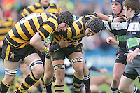 R.B.A.I. second row Mark McDowell takes the ball during the Northern Bank Schools Cup Final at Ravenhill. Result Wallace 0pts R.B.A.I. 15pts.