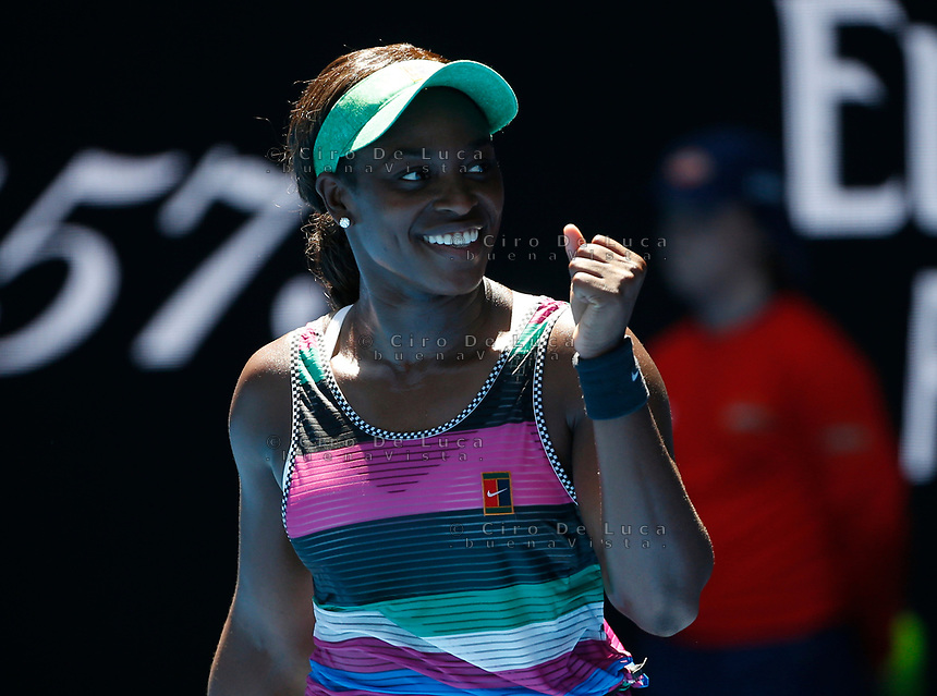 14th January 2019, Melbourne Park, Melbourne, Australia; Australian Open Tennis, day 1; Sloane Stephens of USA reacts during  the match against Taylor Townsend of USA