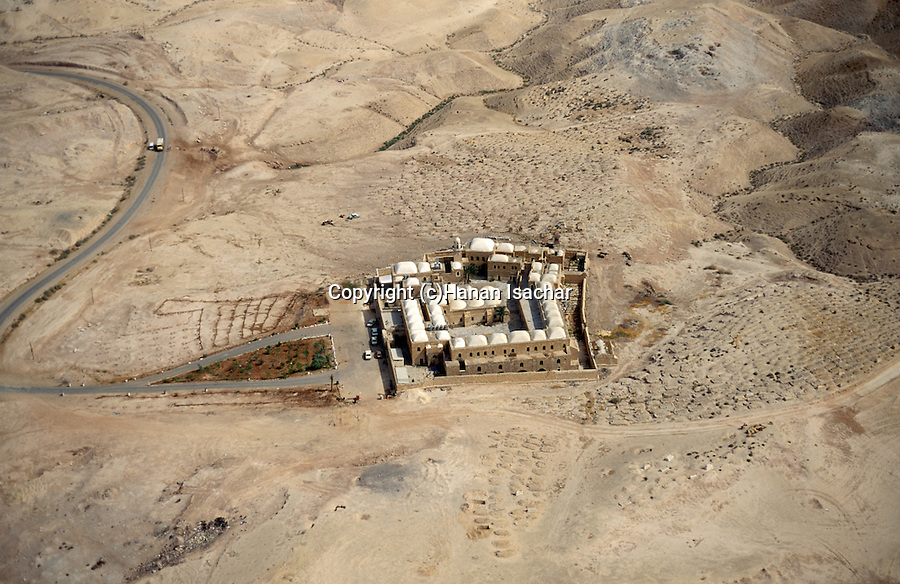 An aerial view of Nabi Musa in the Judean Desert