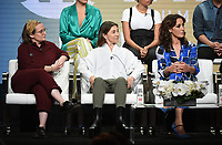 "BEVERLY HILLS - AUGUST 2: Executive Producer/Showrunner Marja-Lewis Ryan, Executive Producer Ilene Chaiken, and Executive Producer/Star Jennifer Beals onstage during the ""The L Word: Generation Q"" panel at the Showtime portion of the Summer 2019 TCA Press Tour at the Beverly Hilton on August 2, 2019 in Los Angeles, California. (Photo by Frank Micelotta/PictureGroup)"