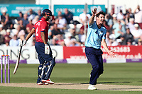 Matt Fisher of Yorkshire appeals for the wicket of Varun Chopra during Essex Eagles vs Yorkshire Vikings, Royal London One-Day Cup Play-Off Cricket at The Cloudfm County Ground on 14th June 2018