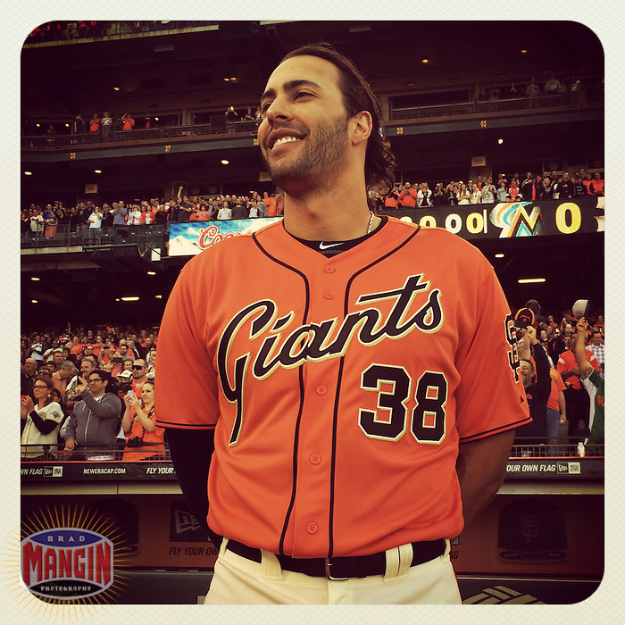 SAN FRANCISCO, CA - MAY 16:  Instagram of Michael Morse of the San Francisco Giants standing for the National Anthem before the game against the Miami Marlins at AT&T Park on May 16, 2014 in San Francisco, California. Photo by Brad Mangin