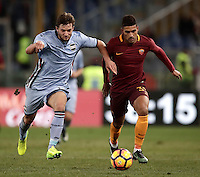Calcio, ottavi di finale di Tim Cup: Roma vs Sampdoria. Roma, stadio Olimpico, 19 gennaio 2017.<br /> Sampdoria's Bartosz Bereszynski, left, and Roma&rsquo;s Emerson Palmieri fight for the ball during the Italian Cup round of 16 football match between Roma and Sampdoria at Rome's Olympic stadium, 19 January 2017.<br /> UPDATE IMAGES PRESS/Isabella Bonotto