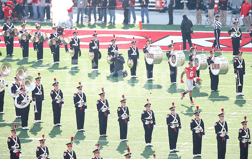Ohio State Buckeyes wide receiver Evan Spencer (6) was one of the seniors who were honored before the game against Michigan at Ohio Stadium on November 29, 2014. (Chris Russell/Dispatch Photo)