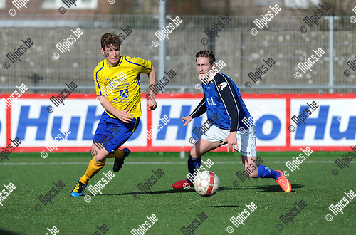 2015-03-08 / Voetbal / Seizoen 2014-2015 / Ternesse - Mariekerke / Bart de Corte (l. Ternesse) met Glenn Francken<br /><br />Foto: Mpics.be