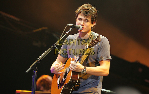 JOHN MAYER.Performs at the 1st Annual John Mayer Holiday Charity Revue at Nokia Theatre LA Live in Los Angeles, California on December 08 2007.       .half length playing guitar concert gig                                                                                 .©Debbie VanStory/Capital Pictures.* EMBARGO: No website use before 17th December 2007*