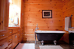 Top selling author Karin Slaughter does all her writing in a cabin in Epworth, Georgia. Her father Howard built the 2,400 square foot cabin for her. The master bath has a claw foot tub, seen June 13, 2010..CREDIT: Kendrick Brinson/LUCEO.KarinSlaughter