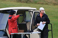 Referree and starter at the 1st during Round 1 of the Irish Girls U18 Open Stroke Play Championship at Roganstown Golf &amp; Country Club, Dublin, Ireland. 05/04/19 <br /> Picture:  Thos Caffrey / www.golffile.ie