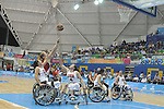 November 18 2011 - Guadalajara, Mexico:   Janet Margaret McLachlan of Team Canada takes a shot while taking on Team USA in the Gold Medal Game in the CODE Alcalde Sports Complex at the 2011 Parapan American Games in Guadalajara, Mexico.  Photos: Matthew Murnaghan/Canadian Paralympic Committee