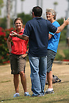 21 August 2009: United States Women's National Team assistant coach Hege Riise (NOR) (left), press officer Aaron Heifetz (center) and head coach Pia Sundhage (SWE) (right). The Los Angeles Sol held a training session at the Home Depot Center in Carson, California one day before playing Sky Blue FC in the inaugural Women's Professional Soccer Championship Game.