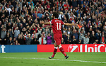 Mohamed Salah of Liverpool celebrates scoring during the Champions League playoff round at the Anfield Stadium, Liverpool. Picture date 23rd August 2017. Picture credit should read: Lynne Cameron/Sportimage
