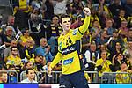 Rhein Neckar Loewe Filip Taleski (Nr.28) jubelt nach seinem Treffer beim Spiel in der Handball Bundesliga, Rhein Neckar Loewen - VfL Gummersbach.<br /> <br /> Foto &copy; PIX-Sportfotos *** Foto ist honorarpflichtig! *** Auf Anfrage in hoeherer Qualitaet/Aufloesung. Belegexemplar erbeten. Veroeffentlichung ausschliesslich fuer journalistisch-publizistische Zwecke. For editorial use only.