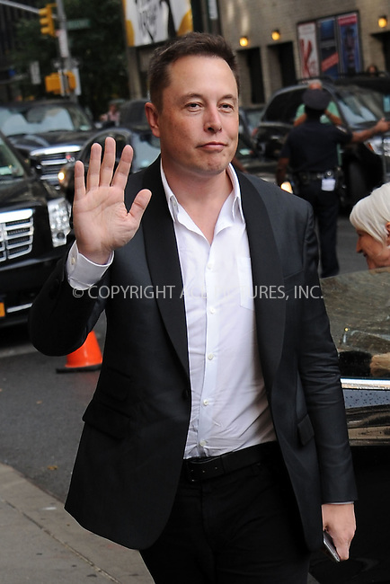 WWW.ACEPIXS.COM<br /> September 9, 2015 New York City<br /> <br /> Elon Musk arriving to attend a taping of 'The Late Show With Stephen Colbert' on September 8, 2015 in New York City.<br /> <br /> Credit: Kristin Callahan/ACE <br /> <br /> Tel: (646) 769 0430<br /> e-mail: info@acepixs.com<br /> web: http://www.acepixs.com