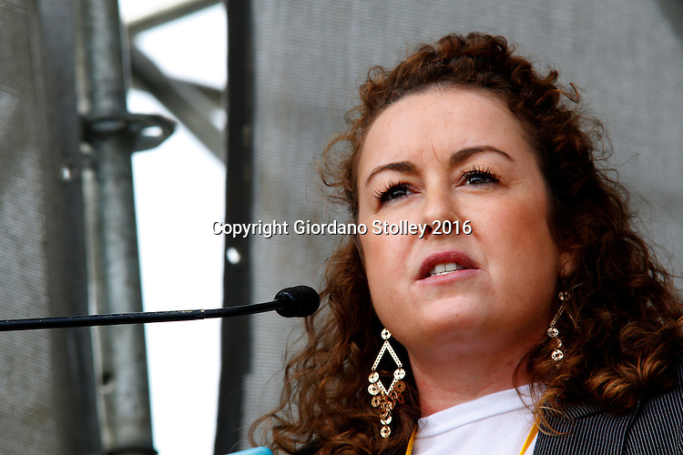 DURBAN - 12 June 2016 - Liezl van der Merwe, the parliamentary whip for South Africa's Inkatha Freedom Party announces that following the upcoming local government elections on August 3, that all IFP controlled municipalities will provide free sanitary pads to school girls who cannot afford them. She made the announcement at a rally in Durban's King Zwelithini Sadium where the party's local government election manifesto was launched. The country's voters go to the polls on August 3 to elect the councillors who will serve them in the more than 200 municipalities. - Picture: Allied Picture Press/APP