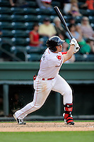 Right fielder Nick Longhi (21) of the Greenville Drive bats in a game against the Savannah Sand Gnats on Sunday, July 5, 2015, at Fluor Field at the West End in Greenville, South Carolina. Longhi is the No. 27 prospect of the Boston Red Sox, according to Baseball America. Savannah won, 8-6. (Tom Priddy/Four Seam Images)