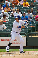 Round Rock Express first baseman Chris McGuiness #21 at bat against the New Orleans Zephyrs in the Pacific Coast League baseball game on April 21, 2013 at the Dell Diamond in Round Rock, Texas. Round Rock defeated New Orleans 7-1. (Andrew Woolley/Four Seam Images).