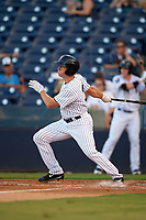Tampa Yankees designated hitter Jeff Hendrix (31) follows through on a swing during a game against the Palm Beach Cardinals on July 25, 2017 at George M. Steinbrenner Field in Tampa, Florida.  Tampa defeated Palm beach 7-6.  (Mike Janes/Four Seam Images)