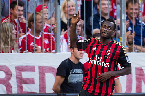 01.08.2013. Munich, Germany.  Kingsley Boateng (Milan) Kingsley Boateng of Milan celebrates his goal during the Audi Cup 2013 match between AC Milan 1-0 Sao Paulo FC at Allianz Arena in Munich, Germany.