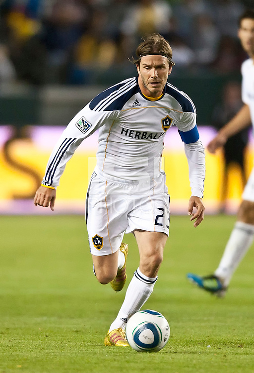 CARSON, CA – June 11, 2011: LA Galaxy midfielder David Beckham (23) during the match between LA Galaxy and Toronto FC at the Home Depot Center in Carson, California. Final score LA Galaxy 2, Toronto FC 2.