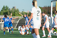 Allston, MA - Sunday, May 22, 2016: Boston Breakers defender Whitney Engen (4) celebrates her goal during a regular season National Women's Soccer League (NWSL) match at Jordan Field.