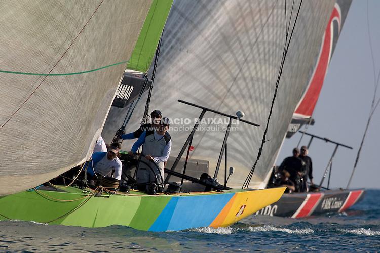 Team Origin GBR88 and Alinghi SUI100. II TROFEO DESAFÍO ESPAÑOL - Club Náutico Español de Vela, 7th to the 9th of November 2008. Desafío Español ESP97, Team Origin GBR88, Alinghi SUI100, Luna Rossa ITA94.