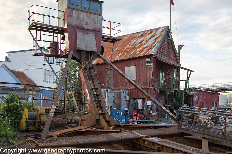Old warehouse and boatyard machinery, Tromso, Norway