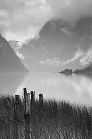 View of lake by mountains under cloudy sky, Rio Negro, Bariloche, Argentina