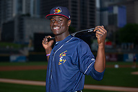 Daz Cameron (10) of the Toledo Mud Hens poses for a photo prior to the game against the Charlotte Knights at BB&T BallPark on April 25, 2019 in Charlotte, North Carolina. The Mud Hens defeated the Knights 11-7. (Brian Westerholt/Four Seam Images)