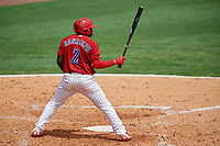 Clearwater Threshers left fielder Cornelius Randolph (2) at bat during the first game of a doubleheader against the Lakeland Flying Tigers on June 14, 2017 at Spectrum Field in Clearwater, Florida.  Lakeland defeated Clearwater 5-1.  (Mike Janes/Four Seam Images)