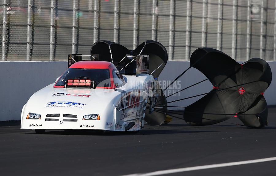 Feb. 17, 2013; Pomona, CA, USA; NHRA funny car driver Gary Densham during the Winternationals at Auto Club Raceway at Pomona. Mandatory Credit: Mark J. Rebilas-