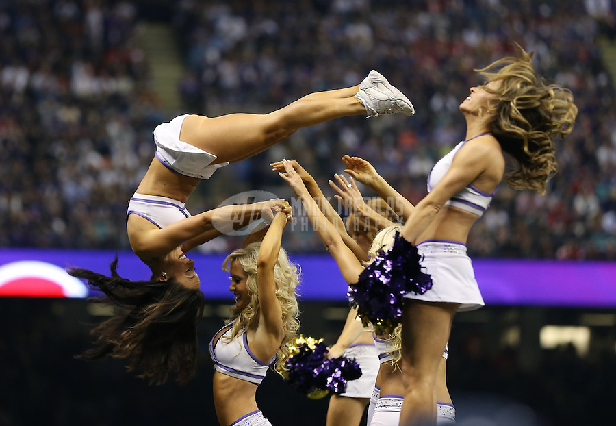 Feb 3, 2013; New Orleans, LA, USA; Baltimore Ravens cheerleaders perform acrobatics in Super Bowl XLVII against the San Francisco 49ers at the Mercedes-Benz Superdome. Mandatory Credit: Mark J. Rebilas-