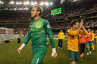 MELBOURNE, 11 JUNE 2013 - Mark SCHWARZER of Australia greet the crowd after winning their Round 4 FIFA 2014 World Cup qualifier match between Australia and Jordan at Etihad Stadium, Melbourne, Australia. Photo Sydney Low for Zumapress Inc. Please visit zumapress.com for editorial licensing. *This image is NOT FOR SALE via this web site.