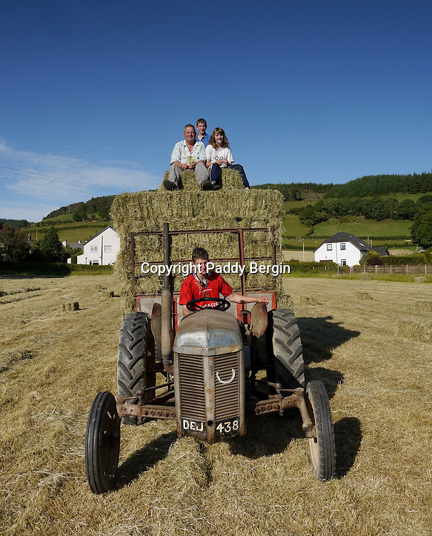 A small family owned farm in the village of Llanafan which is in the county of Ceredigion, West Wales. The village is situated on the north side of the beautiful Ystwyth Valley and the river eventually flows into the sea at the seaside town of Aberystwyth. Haymaking for this farm is an important time and is dependant on the weather. When its good enough and the grass is cut it is left to dry in what are known as windrows and then collected as in these photos. Local people come and help to ensure all the hay is collected, brought in on the tractor trailer and stored in the barn.<br />