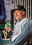 3 April 2017: Miami Marlins third base coach Fredi Gonzalez sits in the dugout prior to a game against the Washington Nationals on Opening Day at Nationals Park in Washington, DC. The Nationals defeated the Marlins 4-2 to open the 2017 MLB Season. Mandatory Credit: Ed Wolfstein Photo *** RAW (NEF) Image File Available ***