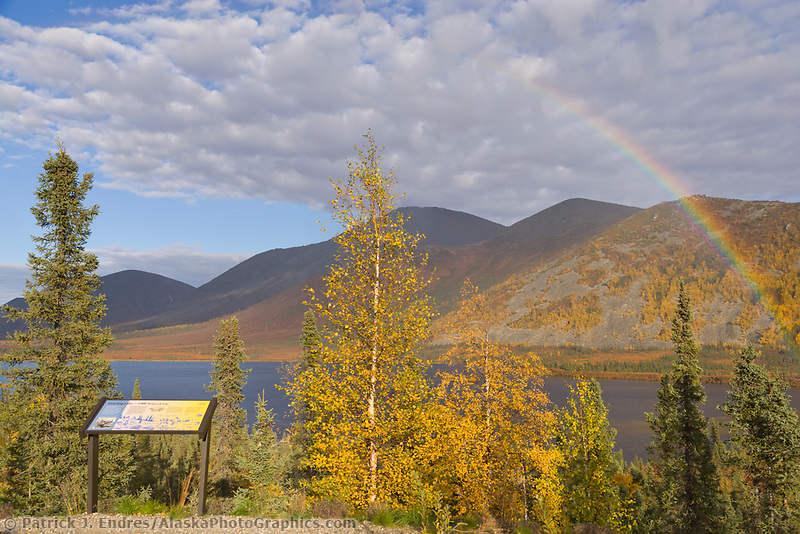 Rainbow over grayling lake and the autumn colored foliage in the foothills of the Brooks Range mountains, Arctic, Alaska.