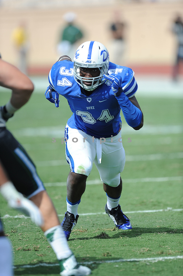 Duke Blue Devils Jonathan Jones (34) during a game against the Tulane Green Wave on September 20, 2014 at Wallace Wade Stadium in Durham, NC. Duke beat Tulane 47-13.
