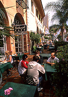State Street people in restaurant in Old Town Santa Barbara California USA touris