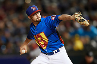 Buffalo Bisons relief pitcher Chris Smith (33) delivers a pitch during a game against the Gwinnett Braves on August 19, 2017 at Coca-Cola Field in Buffalo, New York.  The Bisons wore special Superhero jerseys for Superhero Night.  Gwinnett defeated Buffalo 1-0.  (Mike Janes/Four Seam Images)