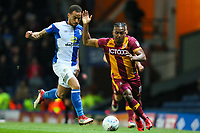 Dom Poleon of Bradford City and Elliott Bennett of Blackburn Rovers  and during the Sky Bet League 1 match between Blackburn Rovers and Bradford City at Ewood Park, Blackburn, England on 29 March 2018. Photo by Thomas Gadd.