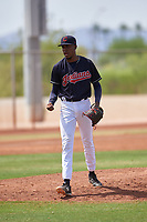 AZL Indians Blue relief pitcher Luis C. Garcia (70) walks off the mound between innings of an Arizona League game against the AZL Indians Red on July 7, 2019 at the Cleveland Indians Spring Training Complex in Goodyear, Arizona. The AZL Indians Blue defeated the AZL Indians Red 5-4. (Zachary Lucy/Four Seam Images)